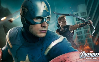 The Avengers: Captain America and Hawkeye wallpapers and stock photos