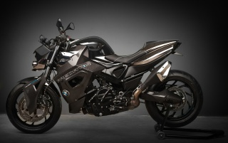 2012 Vilner Custom Bike BMW F800 R Predator Static Gray Background wallpapers and stock photos