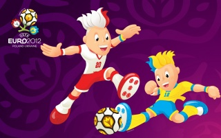 UEFA Euro 2012 Mascots Paying Game Purple wallpapers and stock photos