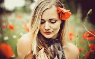 Random: Blonde Girl with Poppy Flower