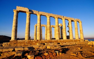 Poseidon's Temple in Greece wallpapers and stock photos