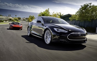2012 Tesla Model S Black Motion wallpapers and stock photos