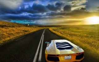 Lamborghini Aventador Sunset wallpapers and stock photos