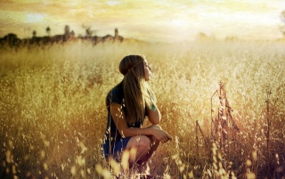 Random: Blonde Girl in Summer Field