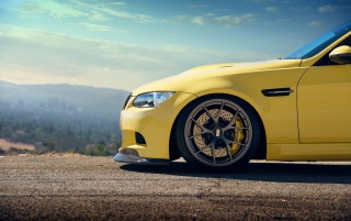 Yellow BMW M3 Bonnet wallpapers and stock photos