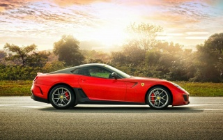 Red Ferrari 599 at Sunset wallpapers and stock photos