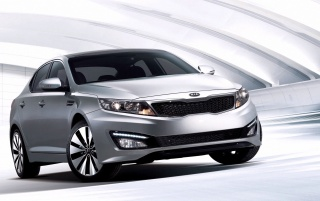 Silver Kia Optima Front Angle wallpapers and stock photos