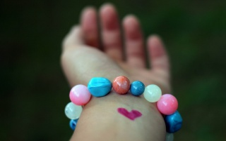 Heart and Colored Marbles Bracelet wallpapers and stock photos