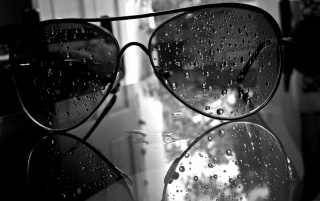 Monochrome Wet Aviator Style Sunglasess wallpapers and stock photos