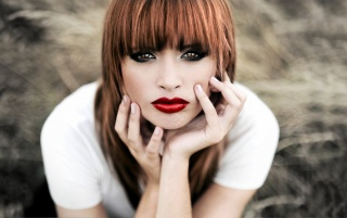 Beautiful Redhead with Hot Red Lips wallpapers and stock photos