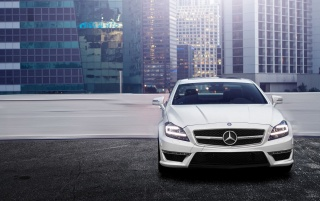 Random: White Mercedes Benz CLS 63 AMG Rooftop