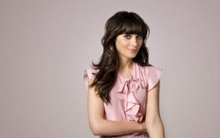 Zooey Deschanel Cute Pink Dress wallpapers and stock photos
