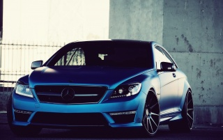 Blue Mercedes Benz CL63 AMG wallpapers and stock photos