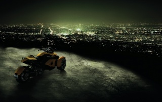 Can-Am Spyder Trike Looking Over the City wallpapers and stock photos