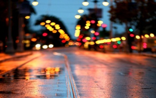 Rainy Street at Night wallpapers and stock photos