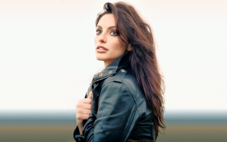 Random: Beautiful Brunette Black Leather Jacket