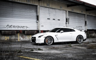 Random: White Nissan GT-R Side