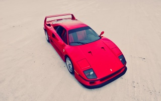 Red Ferrari F40 Top Side Angle wallpapers and stock photos