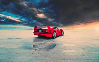Red Ferrari F40 Rear Angle wallpapers and stock photos