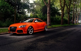 Bright Orange Audi TT in the Street wallpapers and stock photos