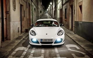 White Porsche 911 at Night wallpapers and stock photos