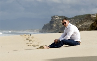 Daniel Craig on the Beach wallpapers and stock photos