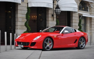 Red Ferrari 599 City Streets wallpapers and stock photos