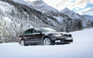 Skoda Superb in the Snow wallpapers and stock photos