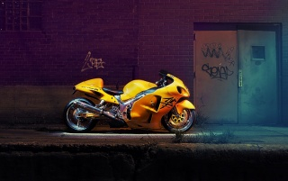Yellow Hayabusa at Night wallpapers and stock photos