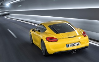 2013 Yellow Porsche Cayman Motion Rear Angle wallpapers and stock photos