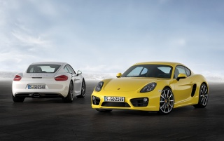 2013 Yellow Porsche Cayman Static Duo wallpapers and stock photos