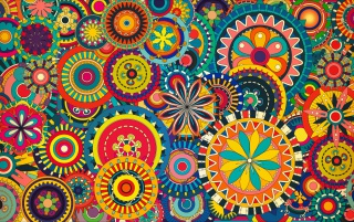 Multicolored Floral Shapes wallpapers and stock photos