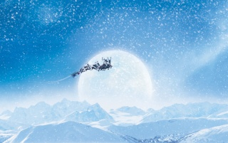 Santa's Sleigh and Reindeers wallpapers and stock photos