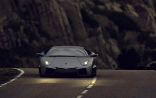 Black Lamborghini Reventon At Night wallpapers and stock photos