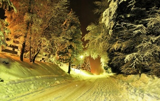 Winter Road at Night wallpapers and stock photos