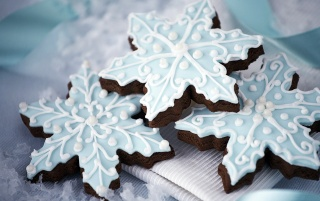 New Year Snowflake Cookies wallpapers and stock photos