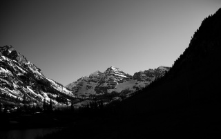 Monochrome Mountain Landscape wallpapers and stock photos