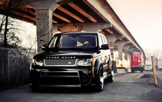 Black Tuned Land Rover Range Rover Vogue wallpapers and stock photos