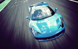 Bright Blue Ferrari 458 Italia wallpapers and stock photos