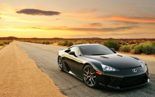 Negro Lexus LFA Desert Road wallpapers and stock photos