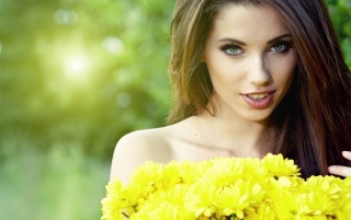 Beautiful Brunette Model Yellow Dress wallpapers and stock photos