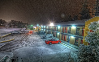 Hotel Parking in Winter wallpapers and stock photos
