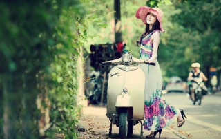 Beautiful Asian Model Spring Colors wallpapers and stock photos