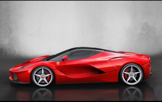 2013 Red Ferrari LaFerrari Studio Side wallpapers and stock photos