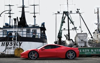 Red Ferrari and Boats wallpapers and stock photos