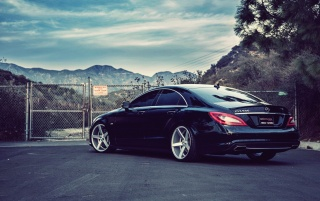 Mercedes Benz CLS550 Rear Angle wallpapers and stock photos