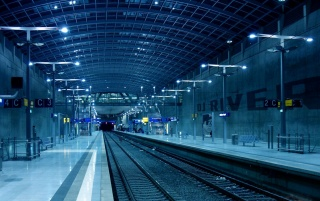 Train Station at Night wallpapers and stock photos