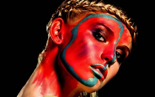 Next: Face Painted Blonde Model Close-up