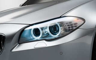 Silver BMW M5 Headlight wallpapers and stock photos
