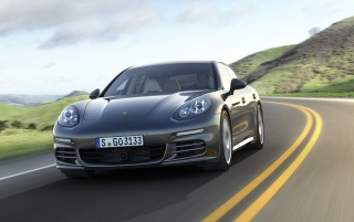 2014 Porsche Panamera Preview 4S Front Angle wallpapers and stock photos